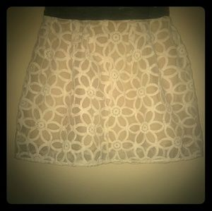 Beautiful leather and sheer flower mini skirt!